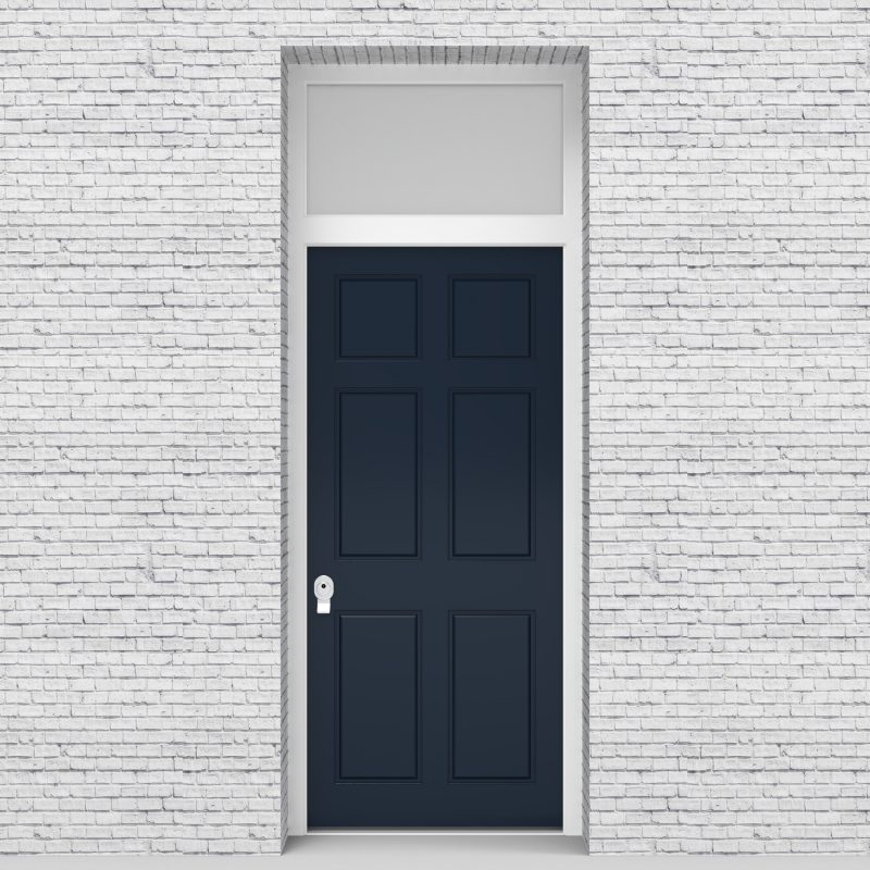 9.single Door With Transom Victorian 6 Panel Sapphire Blue (ral5003)