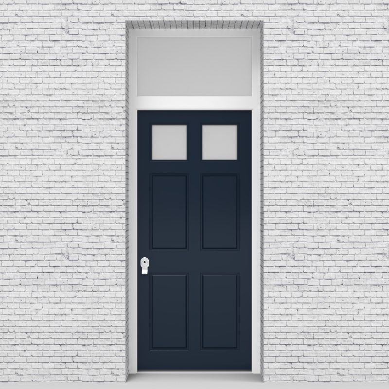 9.single Door With Transom Victorian 6 Panel With 2 Glass Panes Sapphire Blue (ral5003)