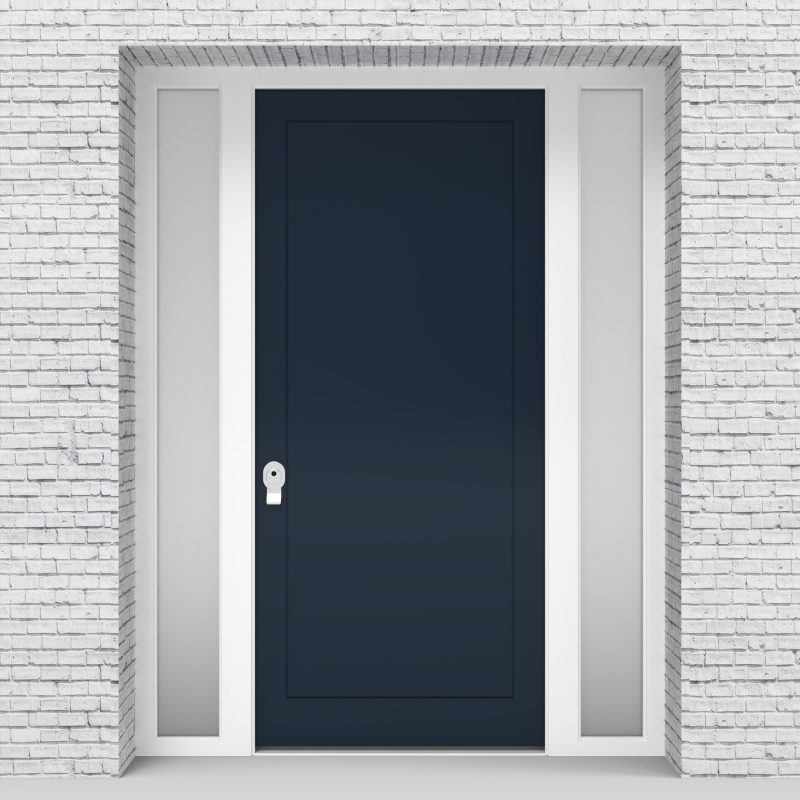 9.single Door With Two Side Panels One Panel Sapphire Blue (ral5003)