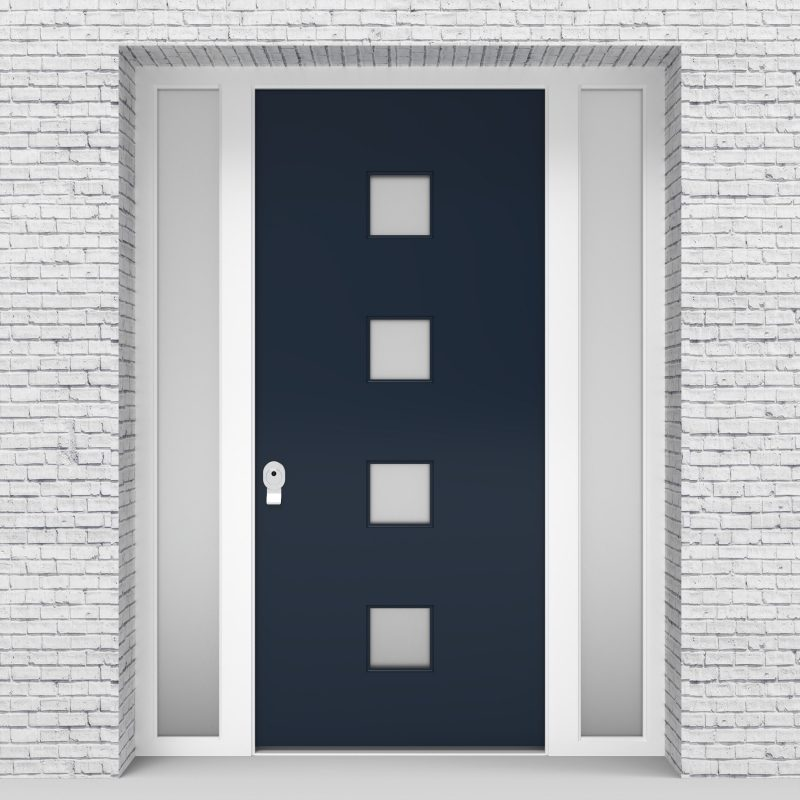 9.single Door With Two Side Panels Plain With 4 Glass Squares Sapphire Blue (ral5003)