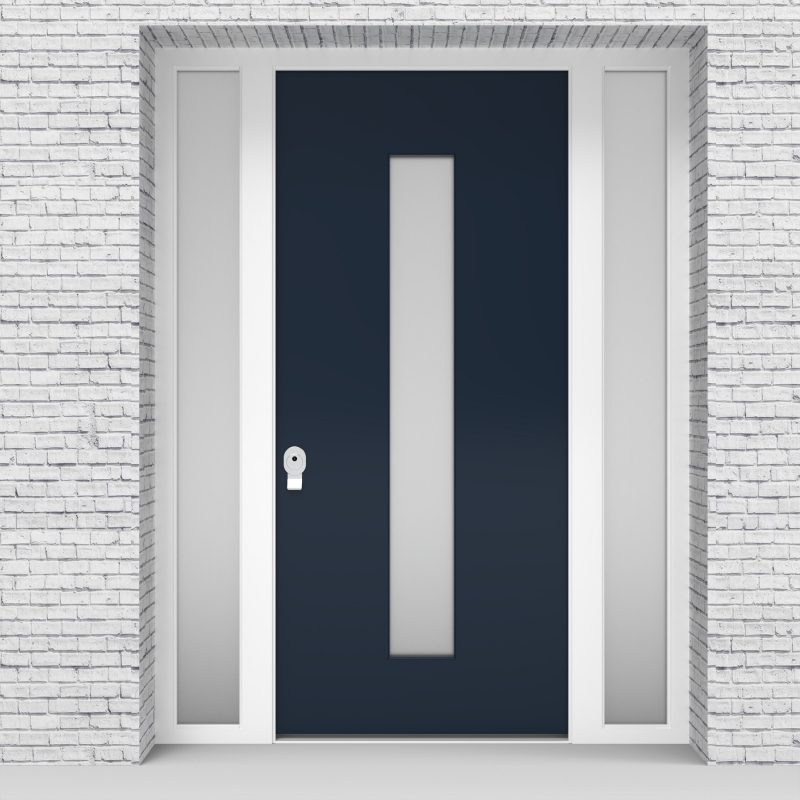 9.single Door With Two Side Panels Plain With Central Glass Sapphire Blue (ral5003)