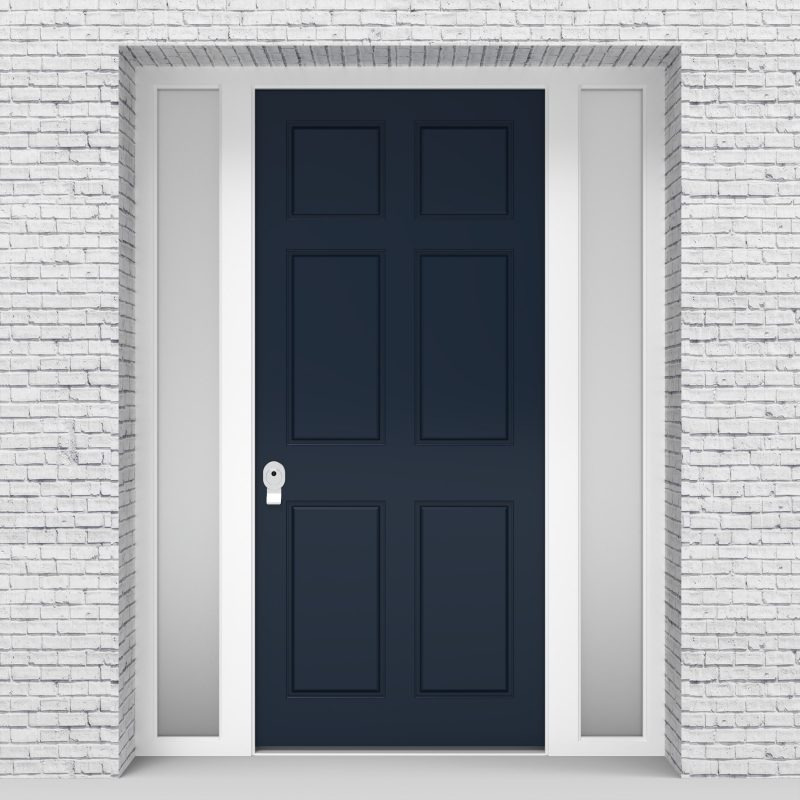 9.single Door With Two Side Panels Victorian 6 Panel Sapphire Blue (ral5003)