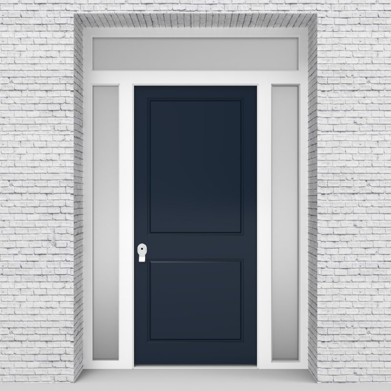 9.single Door With Two Side Panels And Transom Two Panel Sapphire Blue (ral5003)