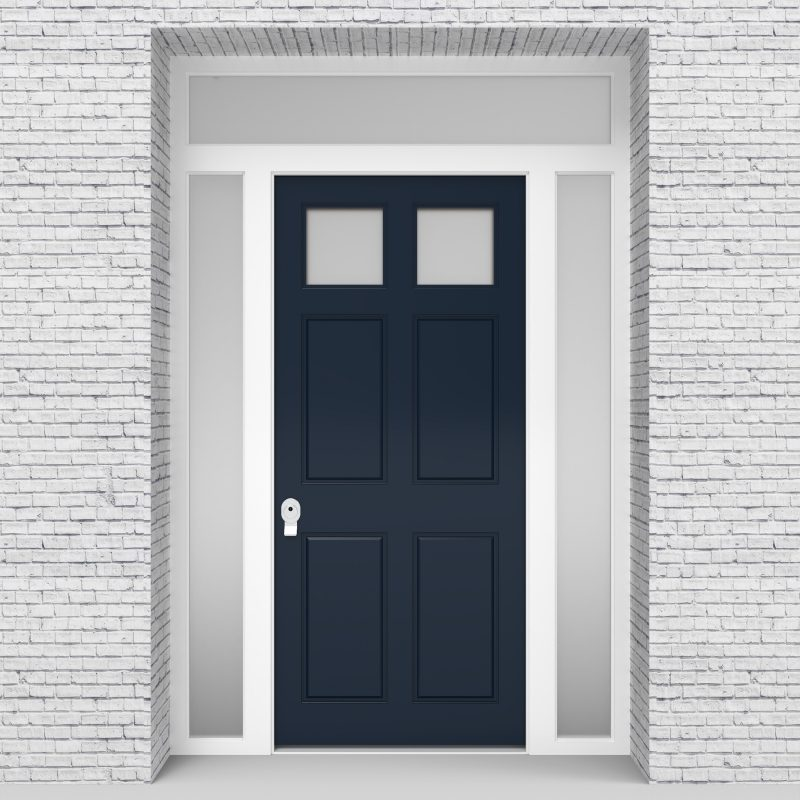 9.single Door With Two Side Panels And Transom Victorian 6 Panel With 2 Glass Sapphire Blue (ral5003)