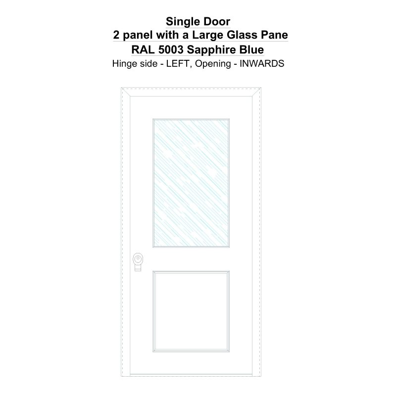 Sd 2 Panel With A Large Glass Pane Ral 5003 Sapphire Blue Security Door