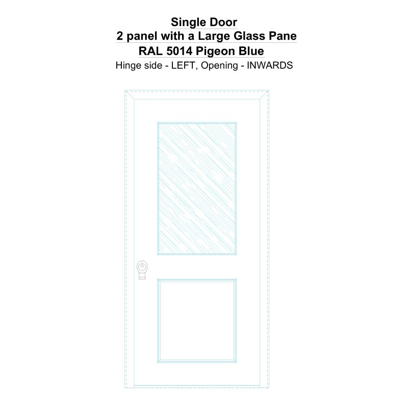Sd 2 Panel With A Large Glass Pane Ral 5014 Pigeon Blue Security Door