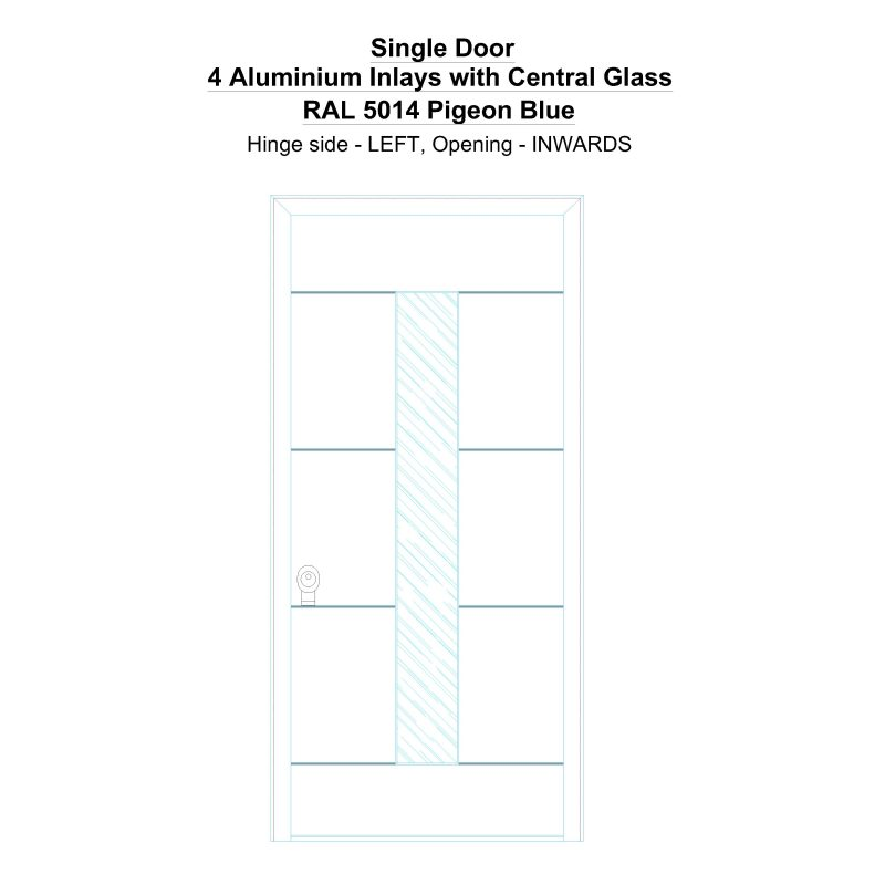 Sd 4 Aluminium Inlays With Central Glass Ral 5014 Pigeon Blue Security Door