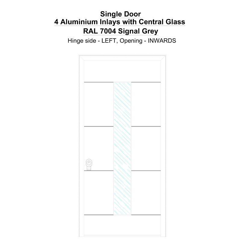 Sd 4 Aluminium Inlays With Central Glass Ral 7004 Signal Grey Security Door