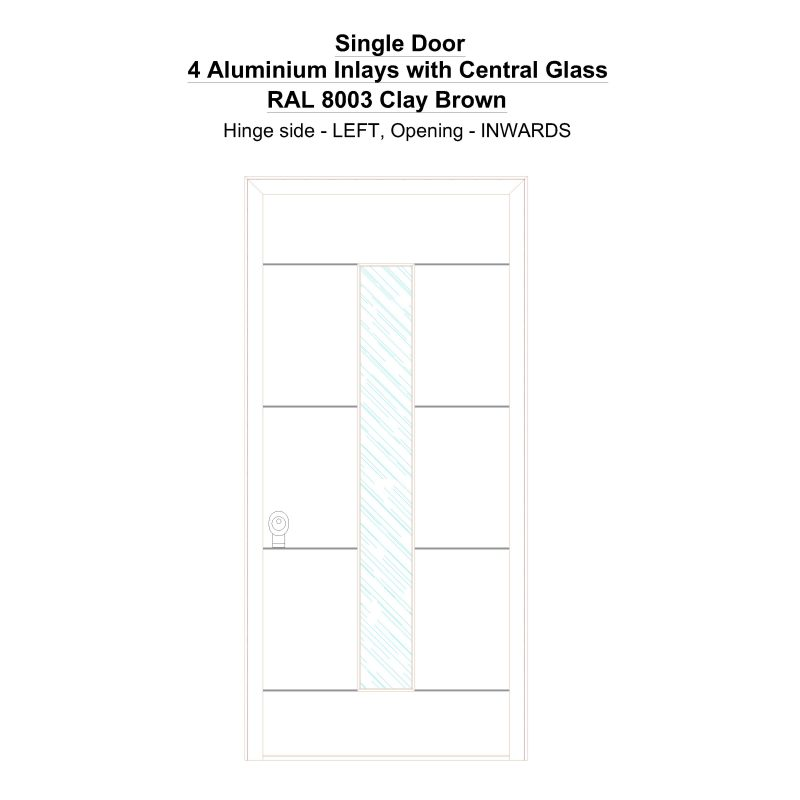 Sd 4 Aluminium Inlays With Central Glass Ral 8003 Clay Brown Security Door