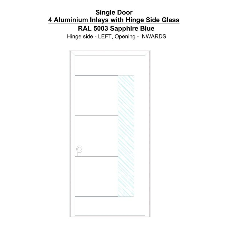 Sd 4 Aluminium Inlays With Hinge Side Glass Ral 5003 Sapphire Blue Security Door