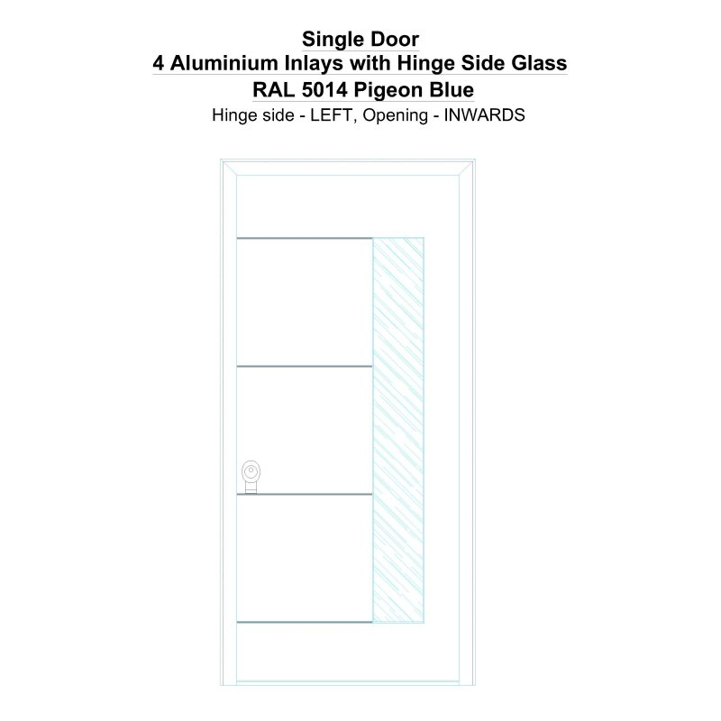 Sd 4 Aluminium Inlays With Hinge Side Glass Ral 5014 Pigeon Blue Security Door