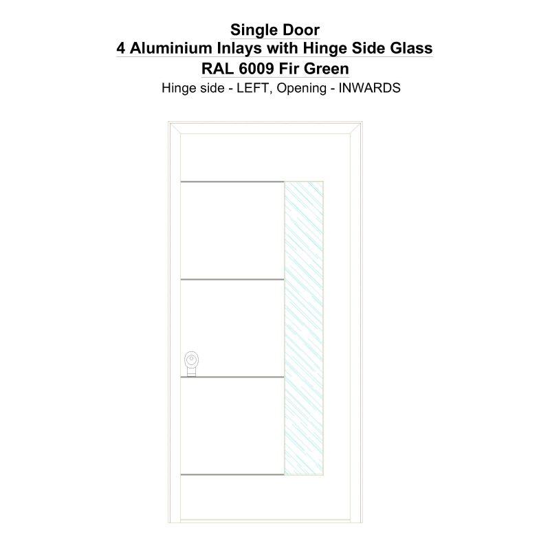 Sd 4 Aluminium Inlays With Hinge Side Glass Ral 6009 Fir Green Security Door