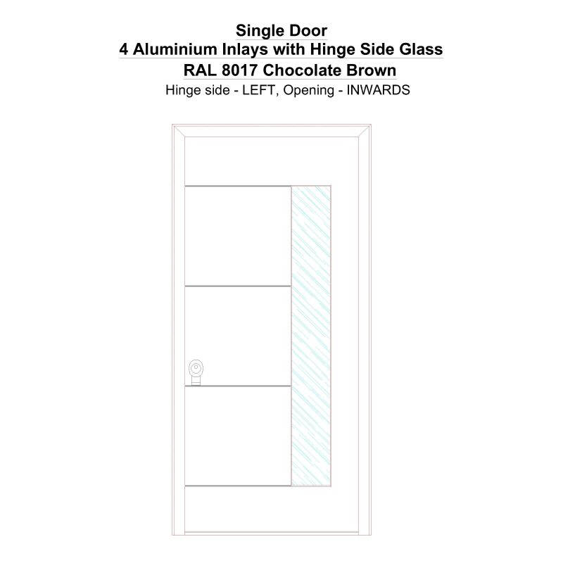 Sd 4 Aluminium Inlays With Hinge Side Glass Ral 8017 Chocolate Brown Security Door
