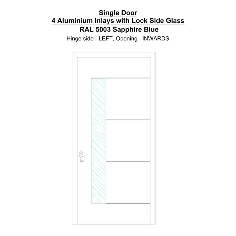 Sd 4 Aluminium Inlays With Lock Side Glass Ral 5003 Sapphire Blue Security Door