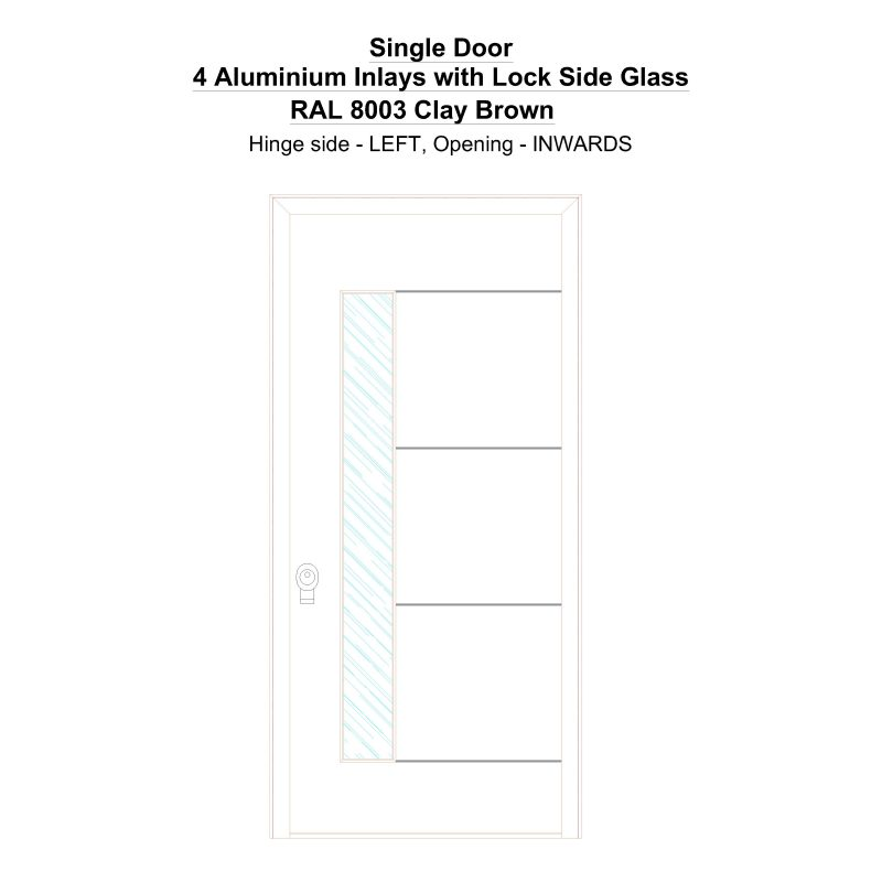Sd 4 Aluminium Inlays With Lock Side Glass Ral 8003 Clay Brown Security Door