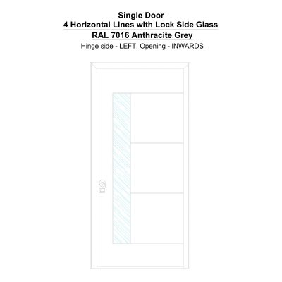 Sd 4 Horizonral Lines With Lock Side Glass Ral 7016 Anthracite Grey Security Door