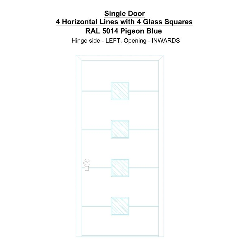 Sd 4 Horizontal Lines With 4 Glass Squares Ral 5014 Pigeon Blue Security Door