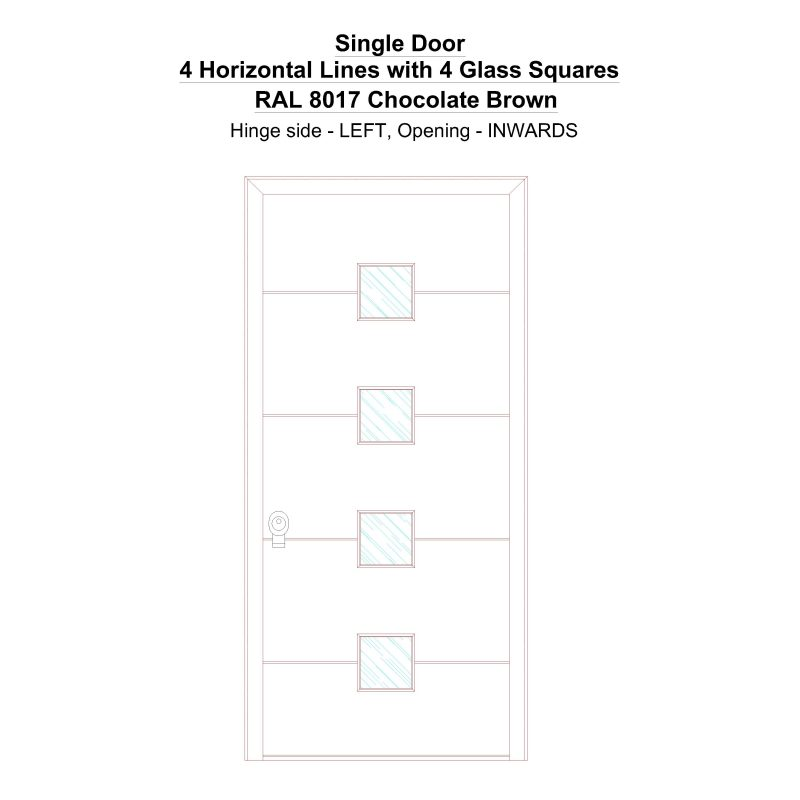 Sd 4 Horizontal Lines With 4 Glass Squares Ral 8017 Chocolate Brown Security Door