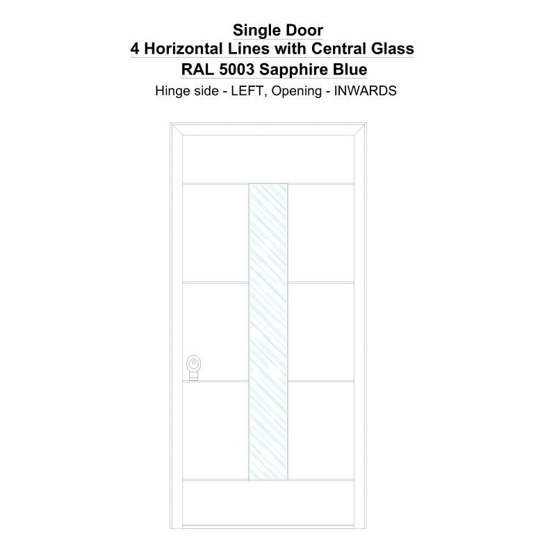 Sd 4 Horizontal Lines With Central Glass Ral 5003 Sapphire Blue Security Door