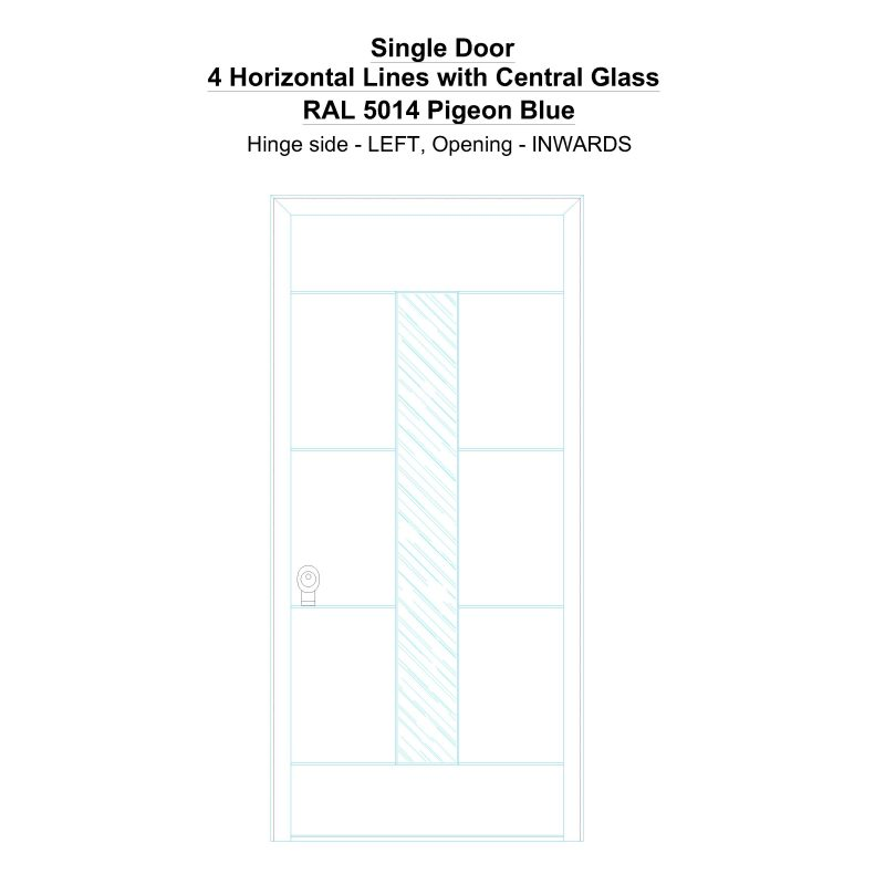 Sd 4 Horizontal Lines With Central Glass Ral 5014 Pigeon Blue Security Door