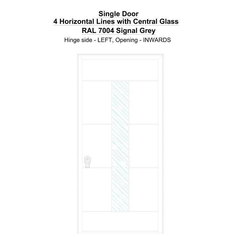 Sd 4 Horizontal Lines With Central Glass Ral 7004 Signal Grey Security Door