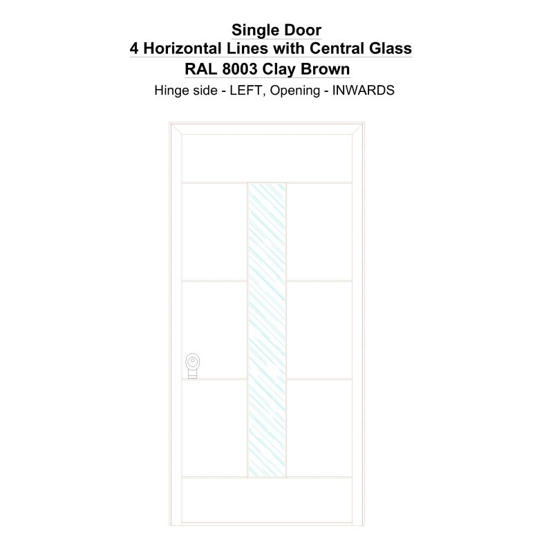 Sd 4 Horizontal Lines With Central Glass Ral 8003 Clay Brown Security Door