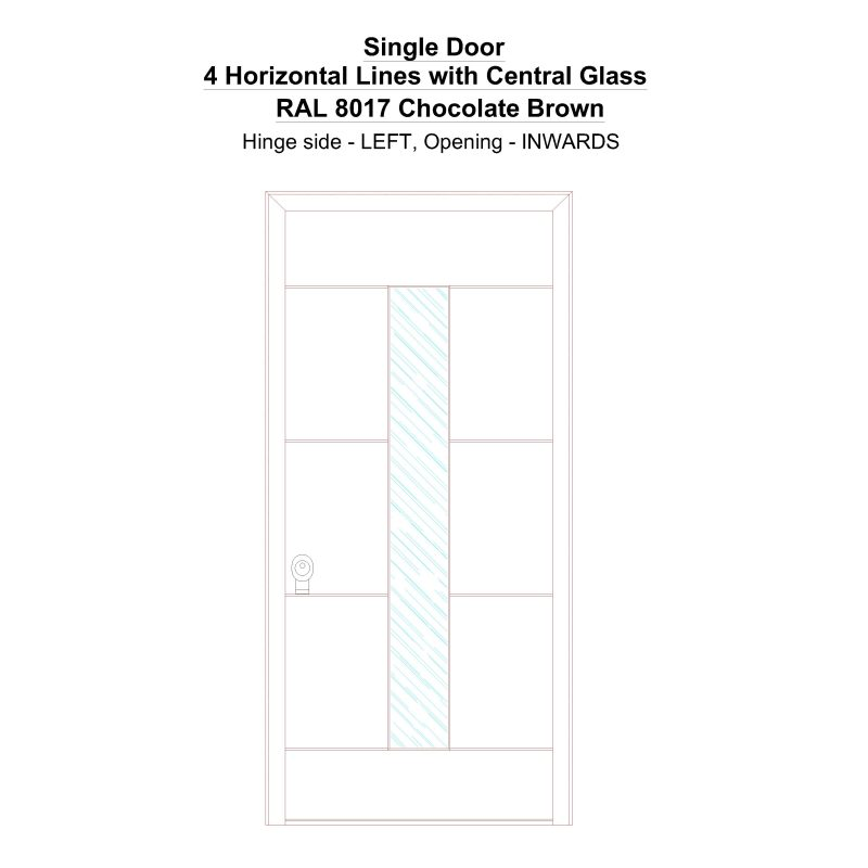 Sd 4 Horizontal Lines With Central Glass Ral 8017 Chocolate Brown Security Door
