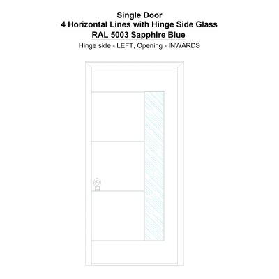 Sd 4 Horizontal Lines With Hinge Side Glass Ral 5003 Sapphire Blue Security Door