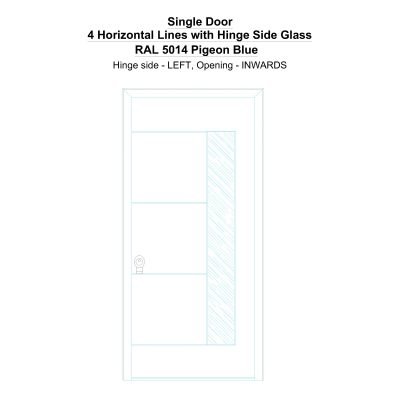 Sd 4 Horizontal Lines With Hinge Side Glass Ral 5014 Pigeon Blue Security Door