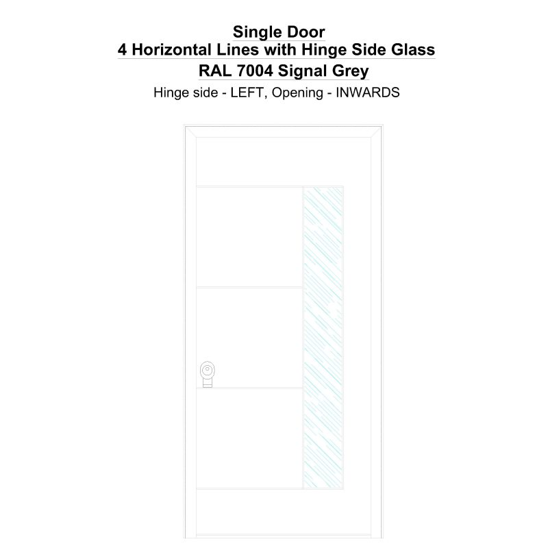 Sd 4 Horizontal Lines With Hinge Side Glass Ral 7004 Signal Grey Security Door