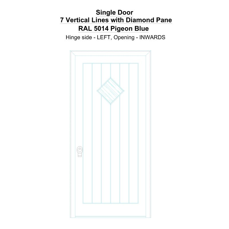 Sd 7 Vertical Lines With Diamond Pane Ral 5014 Pigeon Blue Security Door