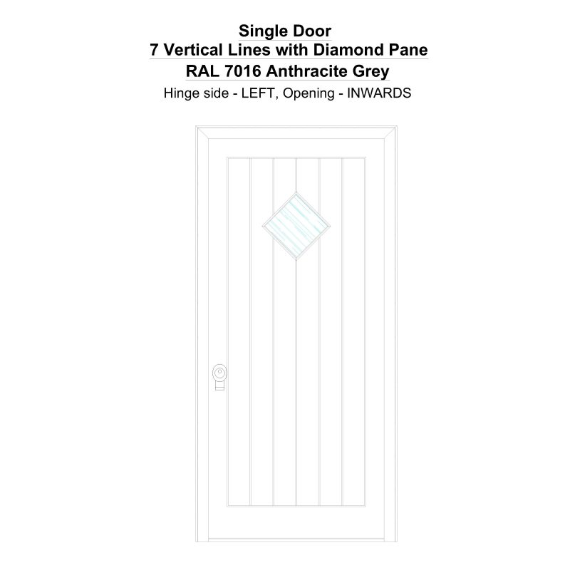 Sd 7 Vertical Lines With Diamond Pane Ral 7016 Anthracite Grey Security Door
