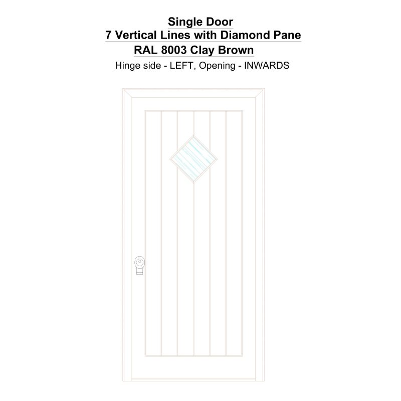 Sd 7 Vertical Lines With Diamond Pane Ral 8003 Clay Brown Security Door