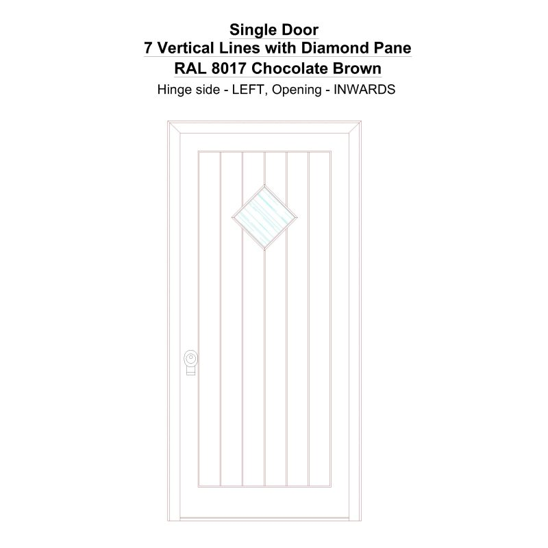 Sd 7 Vertical Lines With Diamond Pane Ral 8017 Chocolate Brown Security Door