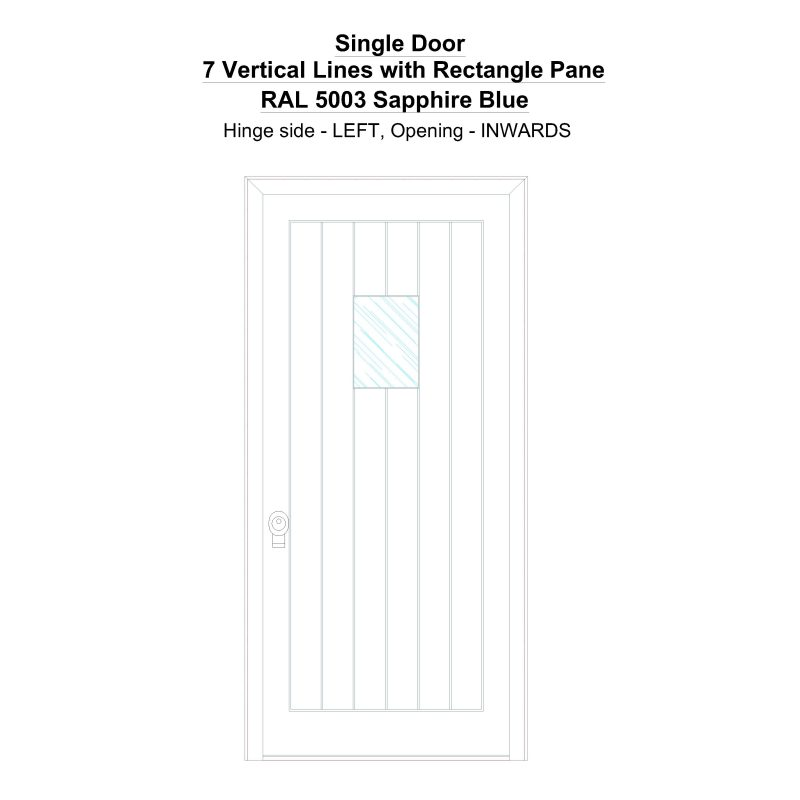 Sd 7 Vertical Lines With Rectangle Pane Ral 5003 Sapphire Blue Security Door