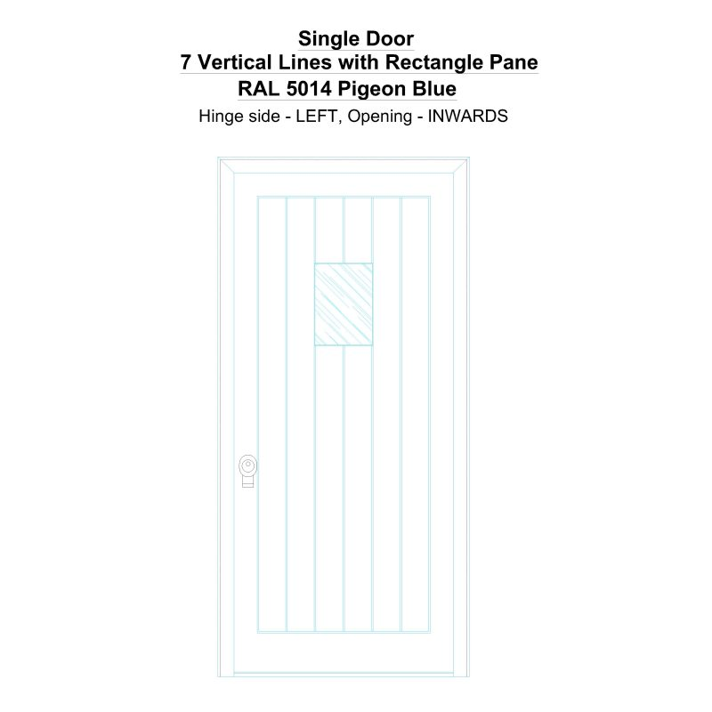 Sd 7 Vertical Lines With Rectangle Pane Ral 5014 Pigeon Blue Security Door