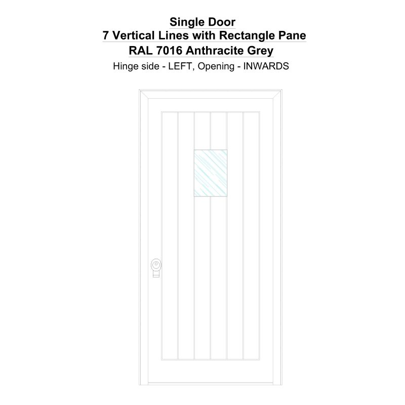 Sd 7 Vertical Lines With Rectangle Pane Ral 7016 Anthracite Grey Security Door