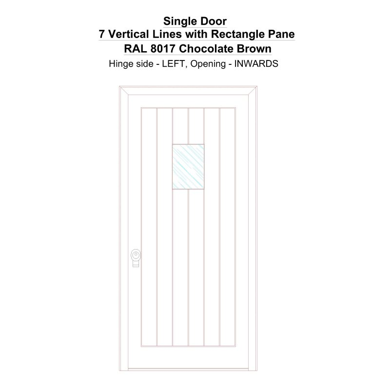 Sd 7 Vertical Lines With Rectangle Pane Ral 8017 Chocolate Brown Security Door