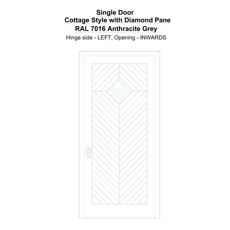 Sd Cottage Style With Diamond Pane Ral7016 Anthracite Grey Security Door