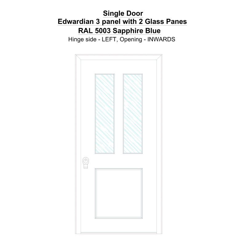 Sd Edwardian 3 Panel With 2 Glass Panes Ral 5003 Sapphire Blue Security Door