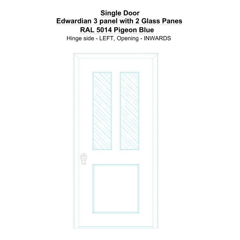 Sd Edwardian 3 Panel With 2 Glass Panes Ral 5014 Pigeon Blue Security Door