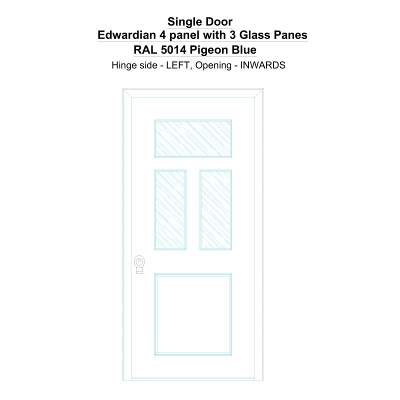 Sd Edwardian 4 Panel With 3 Glass Panes Ral 5014 Pigeon Blue Security Door