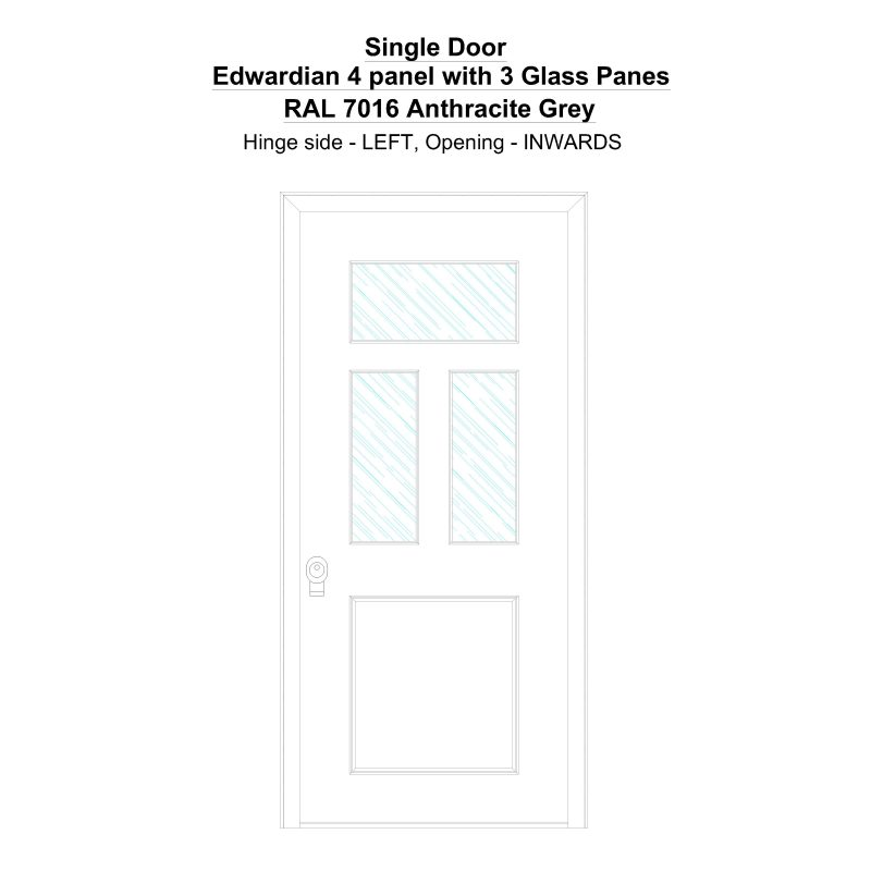 Sd Edwardian 4 Panel With 3 Glass Panes Ral 7016 Anthracite Grey Security Door