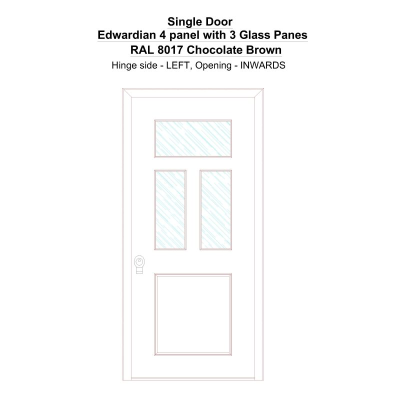 Sd Edwardian 4 Panel With 3 Glass Panes Ral 8017 Chocolate Brown Security Door