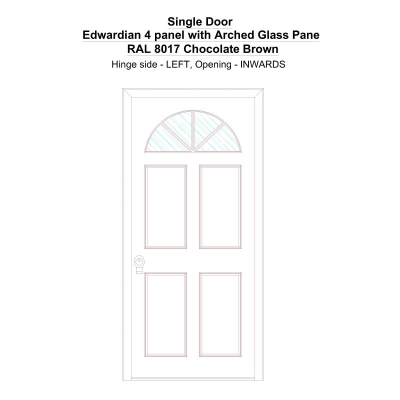 Sd Edwardian 4 Panel With Arched Glass Pane Ral 8017 Chocolate Brown Security Door
