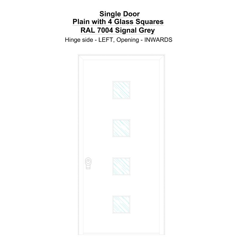 Sd Plain With 4 Glass Squares Ral 7004 Signal Grey Security Door