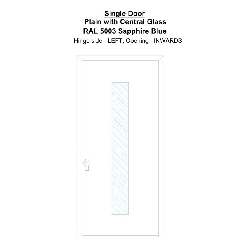 Sd Plain With Central Glass Ral 5003 Sapphire Blue Security Door