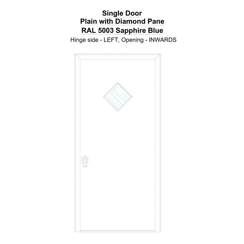 Sd Plain With Diamond Pane Ral 5003 Sapphire Blue Security Door