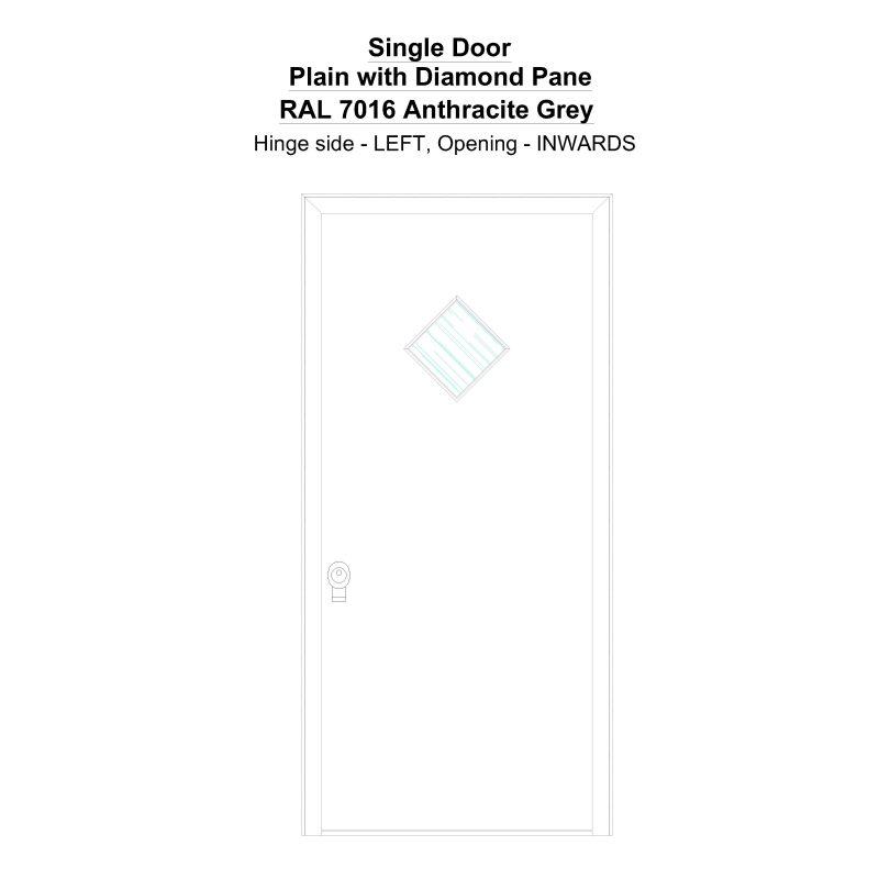 Sd Plain With Diamond Pane Ral 7016 Anthracite Grey Security Door