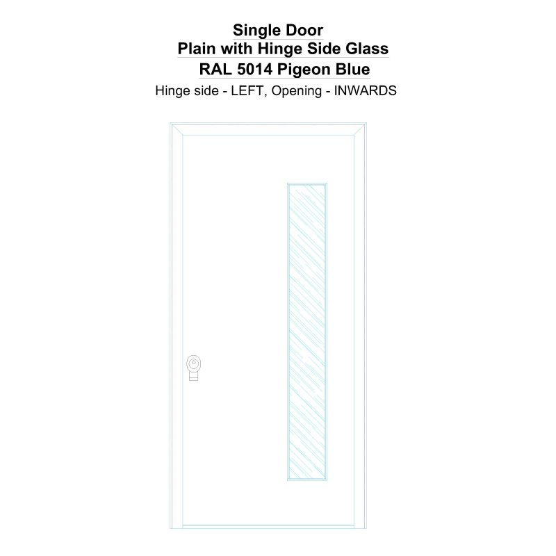 Sd Plain With Hinge Side Glass Ral 5014 Pigeon Blue Security Door